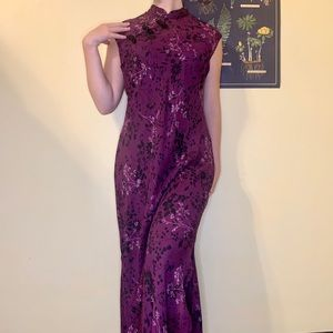 RARE VTG 90's Cheongsam Floral Dress with Slits